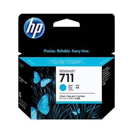 HP 711 cyan toner cartridge in a pack of 3 pcs. (CZ134A)