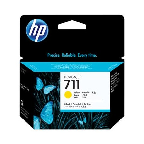 HP 711 yellow ink cartridge in a pack of 3 pcs. (CZ136A)